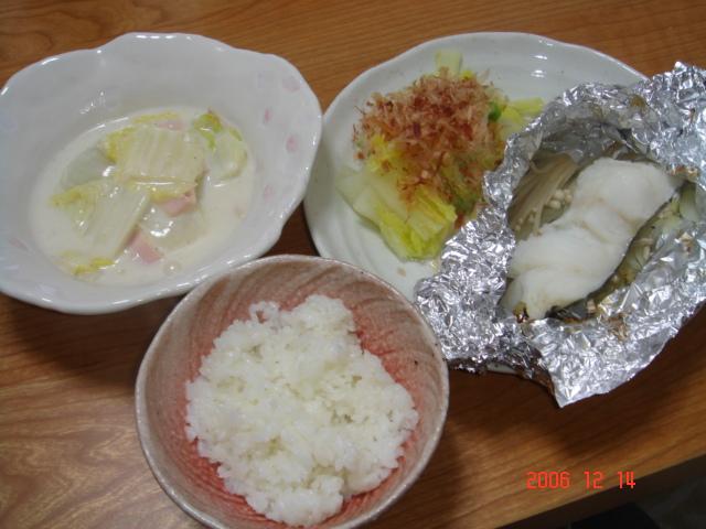 白菜のミルク煮&鱈のホイル焼き